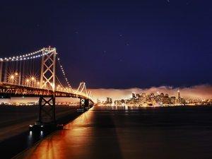 奥克兰海湾大桥夜景