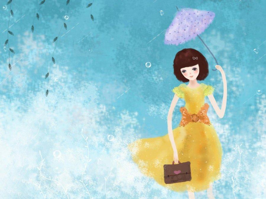 雨中思念的女生