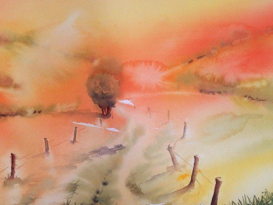 乡间小路水彩画
