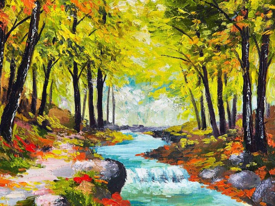 丛林小溪油画