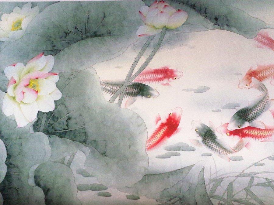 锦鲤创意手绘图片