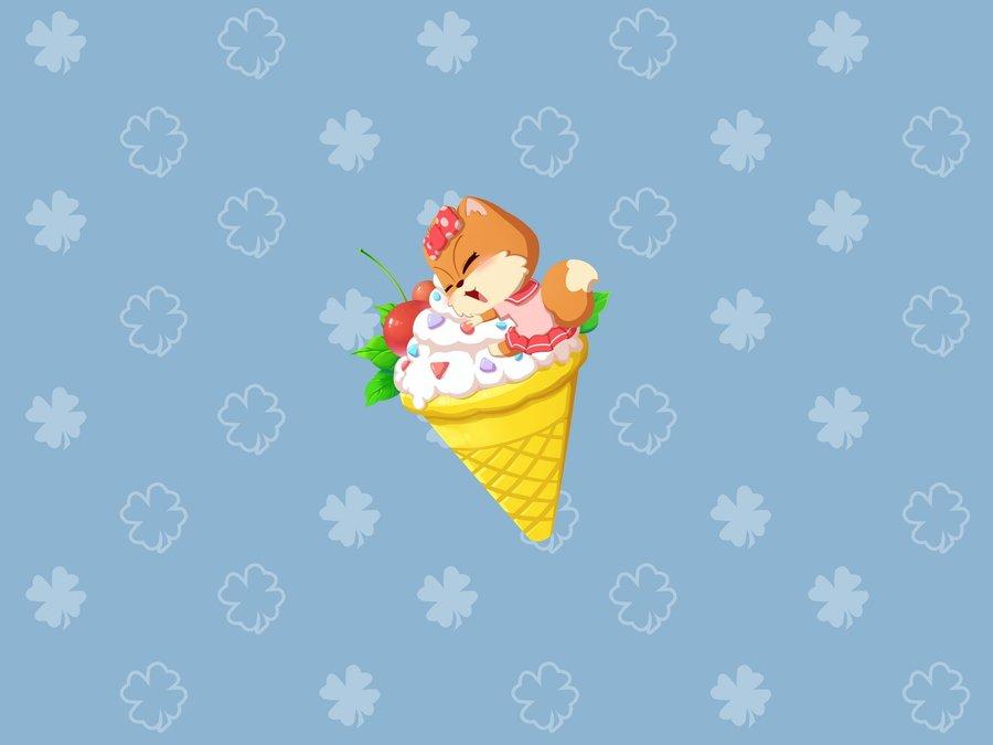 吃冰淇淋的松鼠小美