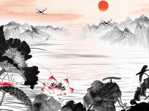 水墨荷花风景画