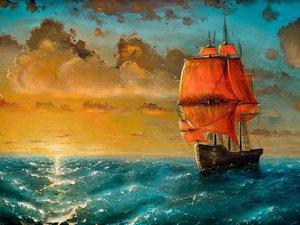 海上帆船油画