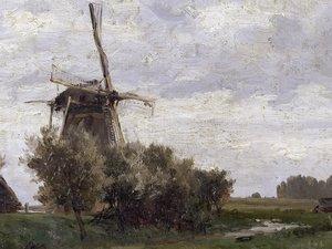 油画中的荷兰风车