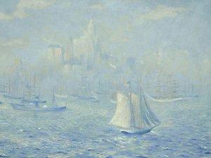 油画中的海上帆船
