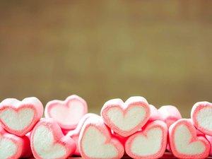 粉色愛心棉花糖